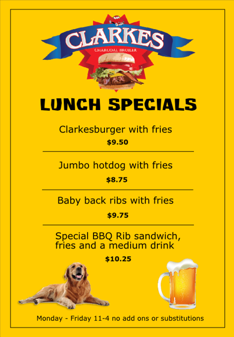 Lunch Specials Menu