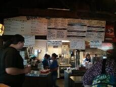 restaurant interior with menu